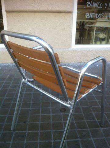 Silla standard aluminio respaldo cuadrado con lamas de - Cojines para sillas terraza ...
